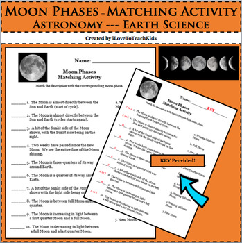 Earth Space Science Astronomy Moon Phases Matching Activity Lesson