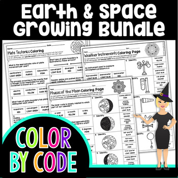 EARTH & SPACE SCIENCE COLORING PAGES, QUIZZES - GROWING BUNDLE!