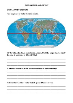 Earth & Space Science Exam Year 5/6