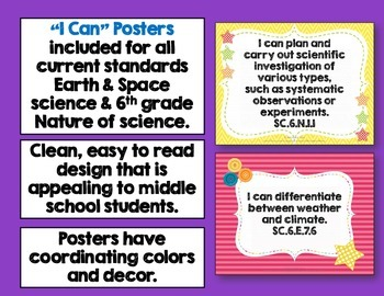 Earth & Space Science Florida Standards Posters, Checklists, & Flap Book Bundle