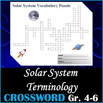 Earth Space Science Vocabulary Crossword Puzzle Activity