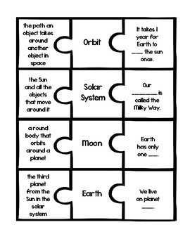 Earth Space Science Vocabulary Puzzles
