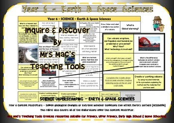 Earth & Space Sciences Rubric - Year 6 - Aust Curric