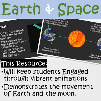 Earth, Space, and Moon ANIMATED PowerPoint with Guided Notes