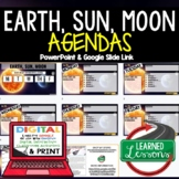 Earth, Sun, Moon Agenda PowerPoint & Google Slides, Earth Science Agenda