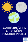Earth Sun Moon Astronomy research project w/ all forms and