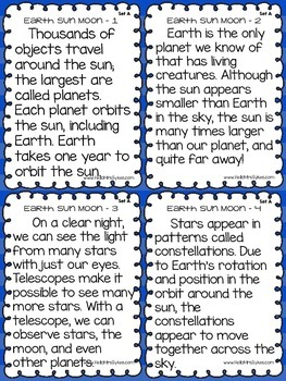 Earth Sun Moon Fluency and Quick Comprehension Check