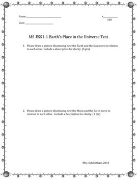 Earth, Sun, Moon, MS-ESS1-1: Test and Answer Key