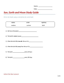 Speech Therapy-Special Education-Earth, Sun & Moon Quiz Modified
