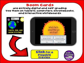 Earth, Sun, and Moon Systems Digital Boom Cards Task Cards
