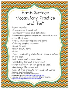 Earth Surface Vocabulary Practice and Test