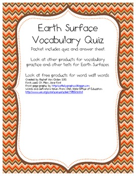 Earth Surface Vocabulary Quiz