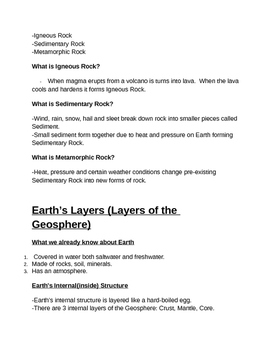 Earth Systems Notes