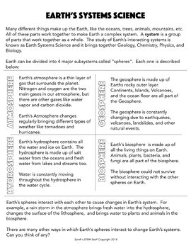 Earth Systems Science about Earth's Spheres