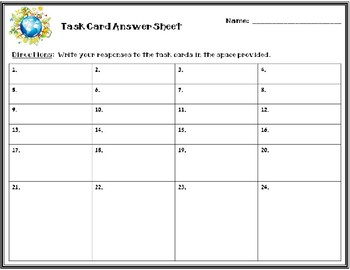 Earth Systems Task Cards
