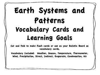 Earth Systems Vocabulary Cards and Learning Goals