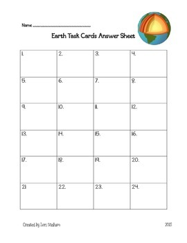 Earth Task Cards