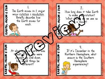 Earth, Moon & Sun Task Cards