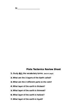 Earth Tectonics Assessment (Quiz)
