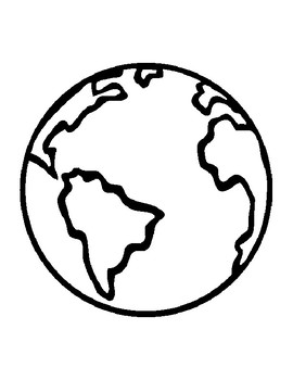 Earth Template For Art Project Coloring Page Outline Sheet Day