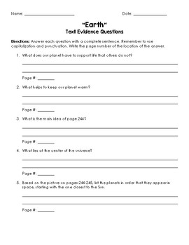 Earth Text Evidence Questions