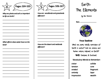 Earth: The Elements Trifold - Imagine It 6th Grade Unit 5 Week 1