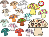 Earth Tone Mushroom Clipart (Personal & Commercial Use)