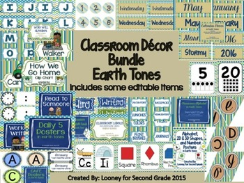 Earth Tones Classroom Decor Bundle