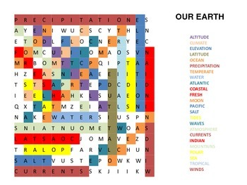 Earth Unit Hidden Word Puzzle