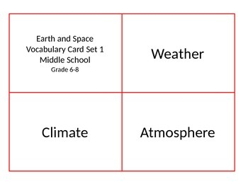 Earth Vocabulary Card Set - Weather and Climate