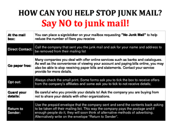 "Earth Week – Reduce Reuse Recycle - Say NO to ""Junk Mail"""