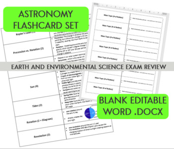 Astronomy Flashcard Set - Earth and Environmental Science Final Exam Review
