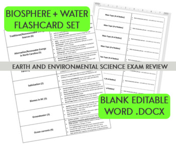 Biosphere Flashcard Set - Earth and Environmental Science NC Final Exam Review