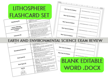 Lithosphere Flashcard Set - Earth and Environmental Science NC Final Exam Review