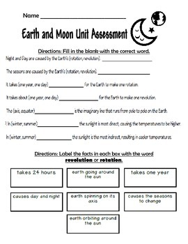 Earth and Moon Unit Science Assessment 4.E.1.2 and 4.E.1.1