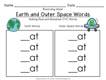 Earth and Outer Space Words:  Making Real and Nonsense CVC Words