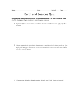 Earth and Seasons Quiz