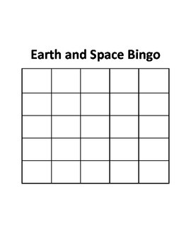 Earth and Space Bingo