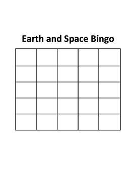 Earth and Space Bingo