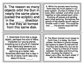 Earth and Space Cloze Task Cards (TEK 2.8D) 32 Cards
