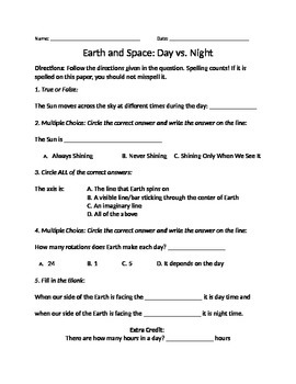 Earth and Space- Day and Night Worksheet