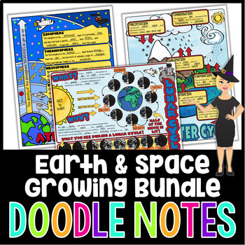 Earth and Space Science Doodle Notes Growing Bundle | Science Doodle Notes