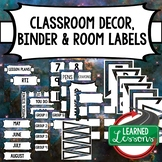 SECONDARY CLASSROOM DECOR, BINDER LABELS, Space Blue
