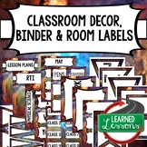 SECONDARY CLASSROOM DECOR, BINDER LABELS, Space Purple