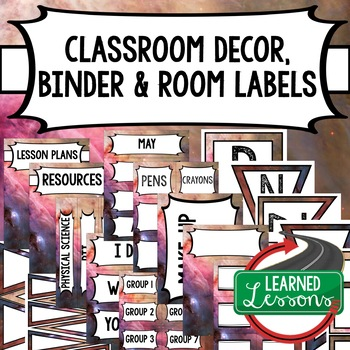 SECONDARY CLASSROOM DECOR, BINDER LABELS, Space Pink