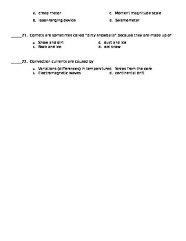 Earth and Space Science Unit Test