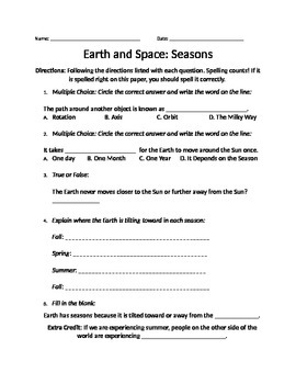 earth and space seasons worksheet by newly kinder tpt. Black Bedroom Furniture Sets. Home Design Ideas