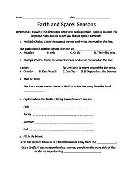 Earth and Space- Seasons worksheet