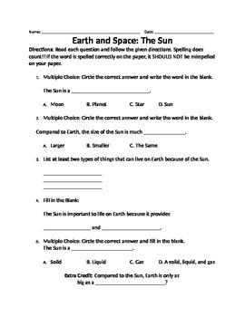 Earth and Space- The Sun
