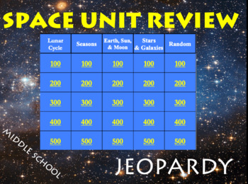 Earth and Space Unit Review Jeopardy Game